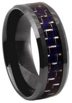 8mm Blue Carbon Fibre Zirconia Ceramic Ring