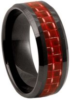 8mm Red Carbon Fibre Zirconia Ceramic Ring