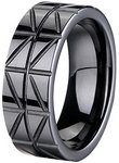8mm Black Zirconia Ceramic Zig-Zag Ring