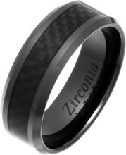 8mm Black Carbon Fibre Zirconia Ceramic Ring